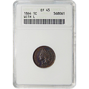 1864 ANACS XF45BN L On Ribbon Indian Head Cent