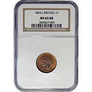 1864 NGC MS65RB L On Ribbon Indian Head Cent