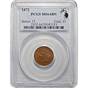 1872 PCGS MS64BN Eagle Eye Indian Head Cent