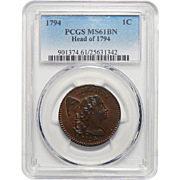 1794 PCGS MS61BN Head of 1794 Flowing Hair Large Cent