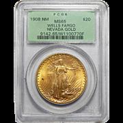 1908 Pcgs MS65 $20 No Motto Wells Fargo Nevada St Gauden