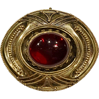 Victorian 14K Large Garnet Brooch with Twisted Wire Work and Granulation Circa 1860's to 1870's