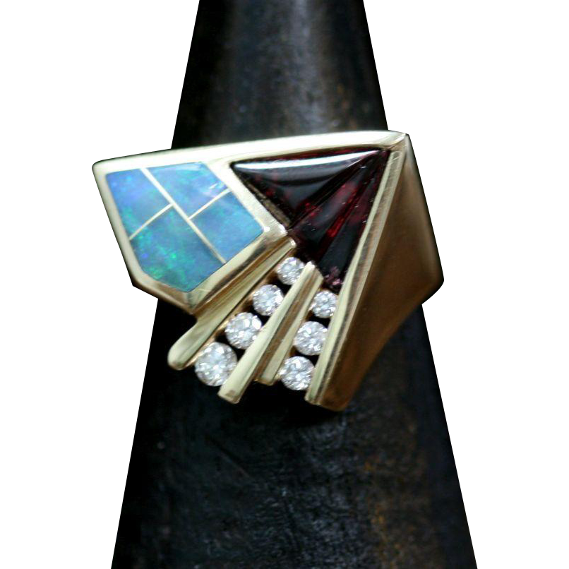 Vintage Kabana 14k Yellow Gold Diamond Garnet and Opal Ring from ...