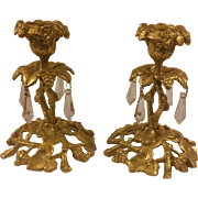 Pair of Glo-Mar Artworks N.Y. Brass Candleholders