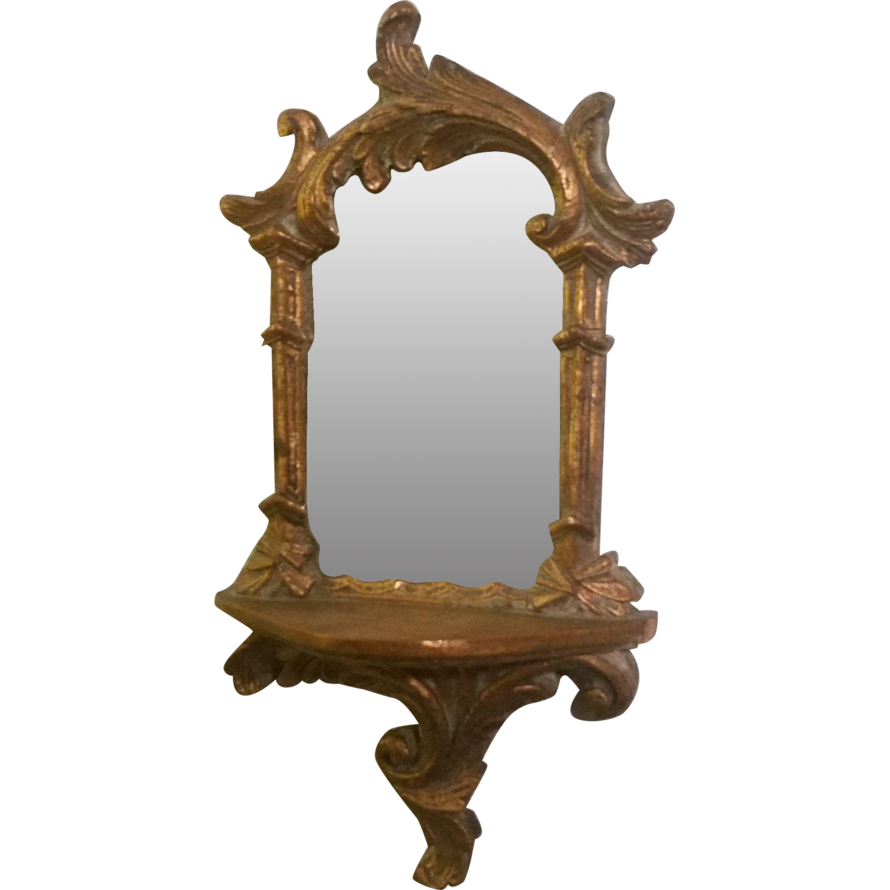 Vintage Wood Hand Carved Small Gilt Wall Mirror from ...