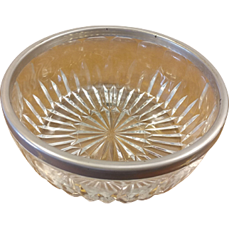 Large Thumbprint Clear Glass Bowl with Silverplate Rim