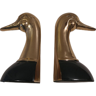 Pair of Brass Duck Bookends