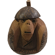 Carved Coconut Monkey Coin Bank