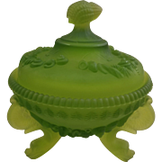 Westmoreland Argonaut Frosted Satin Green Footed Candy Dish
