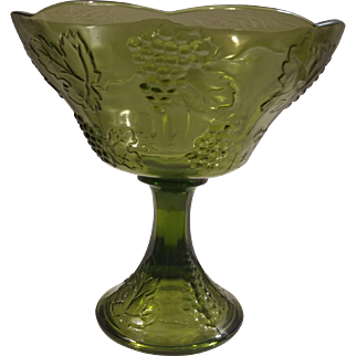 Indiana Glass Green Grape and Leaf Compote Candy Dish