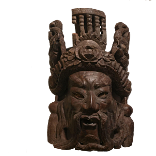 Carved Rosewood Asian Mask