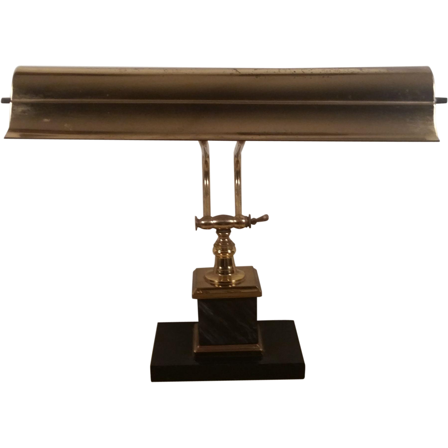 Marble base and brass 2 light bankers desk lamp from second time marble base and brass 2 light bankers desk lamp geotapseo Image collections