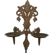 Pair of Brass Wall Sconce Candleholders