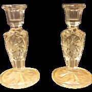 "Pair Cut Crystal 5"" Candleholders"