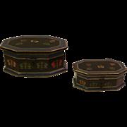 Pair  Vintage Foreside Wood Trinket Boxes