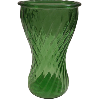 A. L. Randall Green Twisted Rib Vase