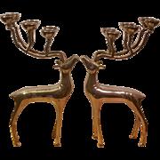 Vintage Pair of Godinger Silverplate Reindeer Candelabras