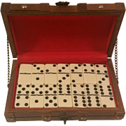 Footed Treasure Chest Wood Box and 28 Piece Brass Pin Domino Set