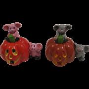 Painted Resin Halloween Pumpkin and Mice