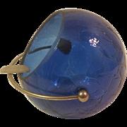 Cobalt Blue Cracked Glass Orb Ashtray