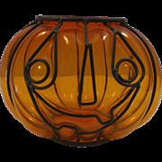 Halloween Pumpkin Amber Glass Candleholder Inside Metal Frame