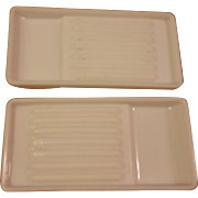 Pair Vintage Milk Glass Dental Trays