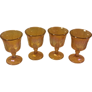 Set of 4 Iridescent Amber Indiana Glass Goblets