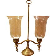 Brass Hurricane Double Arm Candelaba with 2 Etched Glass Shaded