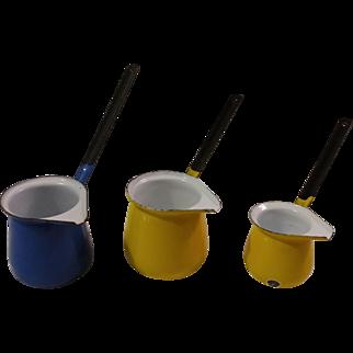 Three Enamel Ladles Warmers Pourers