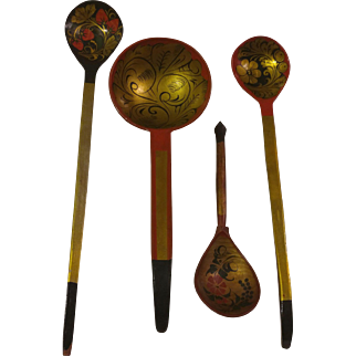 Russian Khokhloma Hand Painted and Lacquer Ladle and Spoons