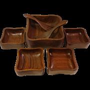 Vintage Dolphin Teakwood 7 Piece Salad Bowl Set