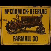 Vintage Mccormick-Deering Farmall 30 Tractor Sign