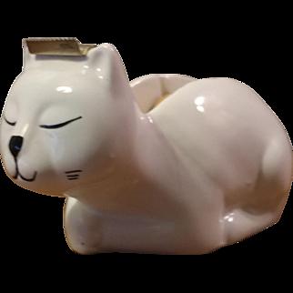 Vintage White Ceramic Cat Tape Dispenser