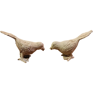 Pair of Vintage Cast Iron Birds