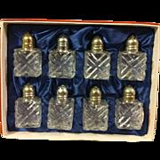 Vintage Set of 8 Leonard Crystal Salt and Pepper Shakers