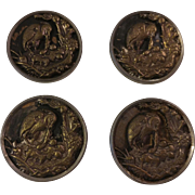Vintage Set of 4 Brass Picture Buttons