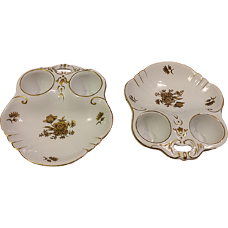 Pair of Fine China Hand Painted Egg Plates