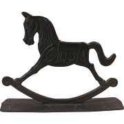 Cast Iron Double Sided Rocking Horse Doorstop