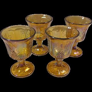 Indiana Glass Set of 4 Harvest Grape Marigold Amber Carnival Goblets