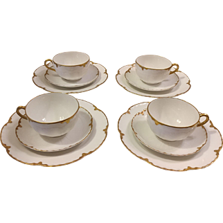Haviland Limoges 12 Piece Cup Saucer and Plate Ranson Pattern
