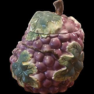 Vintage Cookie Jar Grape and Leaf Pattern
