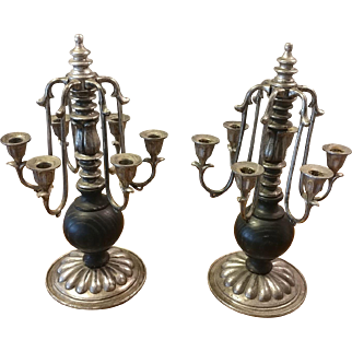 Pair of Candelabras Wood and Pewter
