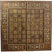 Folding Vintage Inlay Wood Chess Backgammon Board
