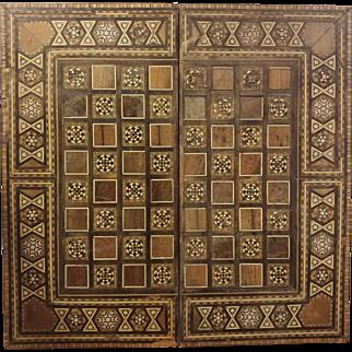 Folding Vintage Inlay Wood Chess Backgammon Board
