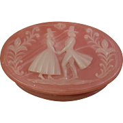 Resin Pink Cameo Trinket Box