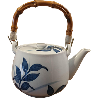 Japanese Ceramic Teapot Bamboo Handle
