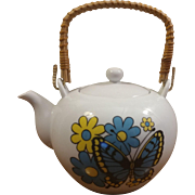 Japanese Teapot Rattan Handle Butterflies & Flowers