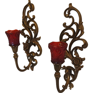 Syroco Hollywood Regency Gold Tone Wall Sconce Pair