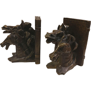 Ceramic Double Horse Head Bookends