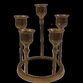 Brass 5 Cup Candleholder Centerpiece